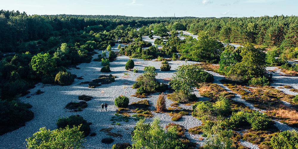 Blick von oben auf die Feuersteinfelder von Mukran
