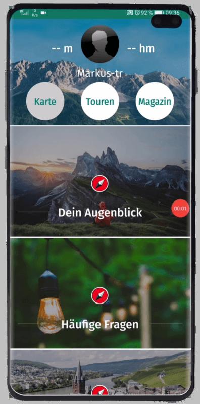 Huptbildschirm mit Karten Button
