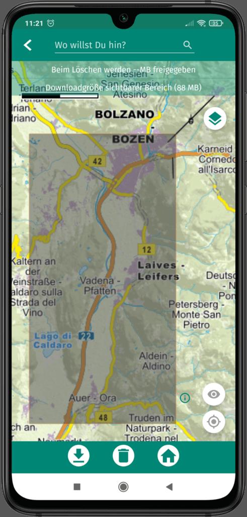 App Screenshot - greuer Bereich auf der App Kartenansicht