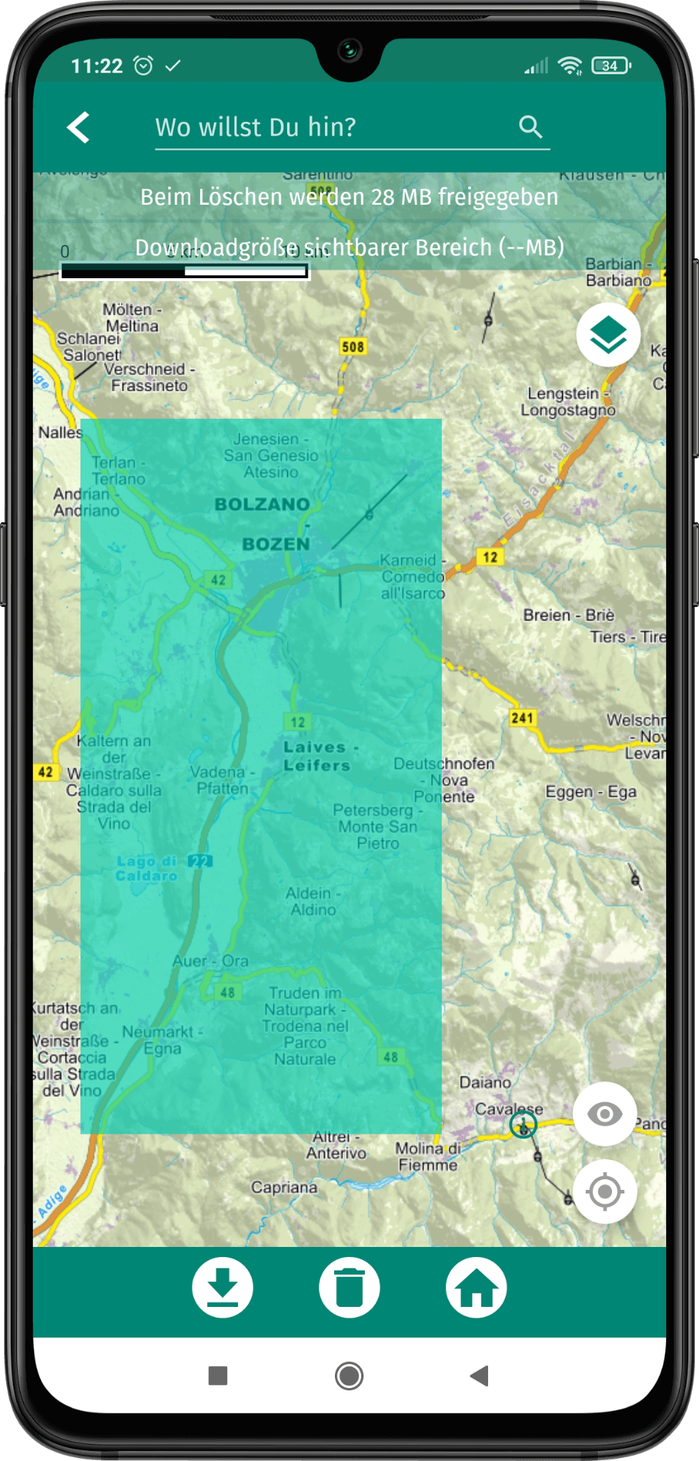 App Screenshot - grüner Bereich auf der Kartenansicht