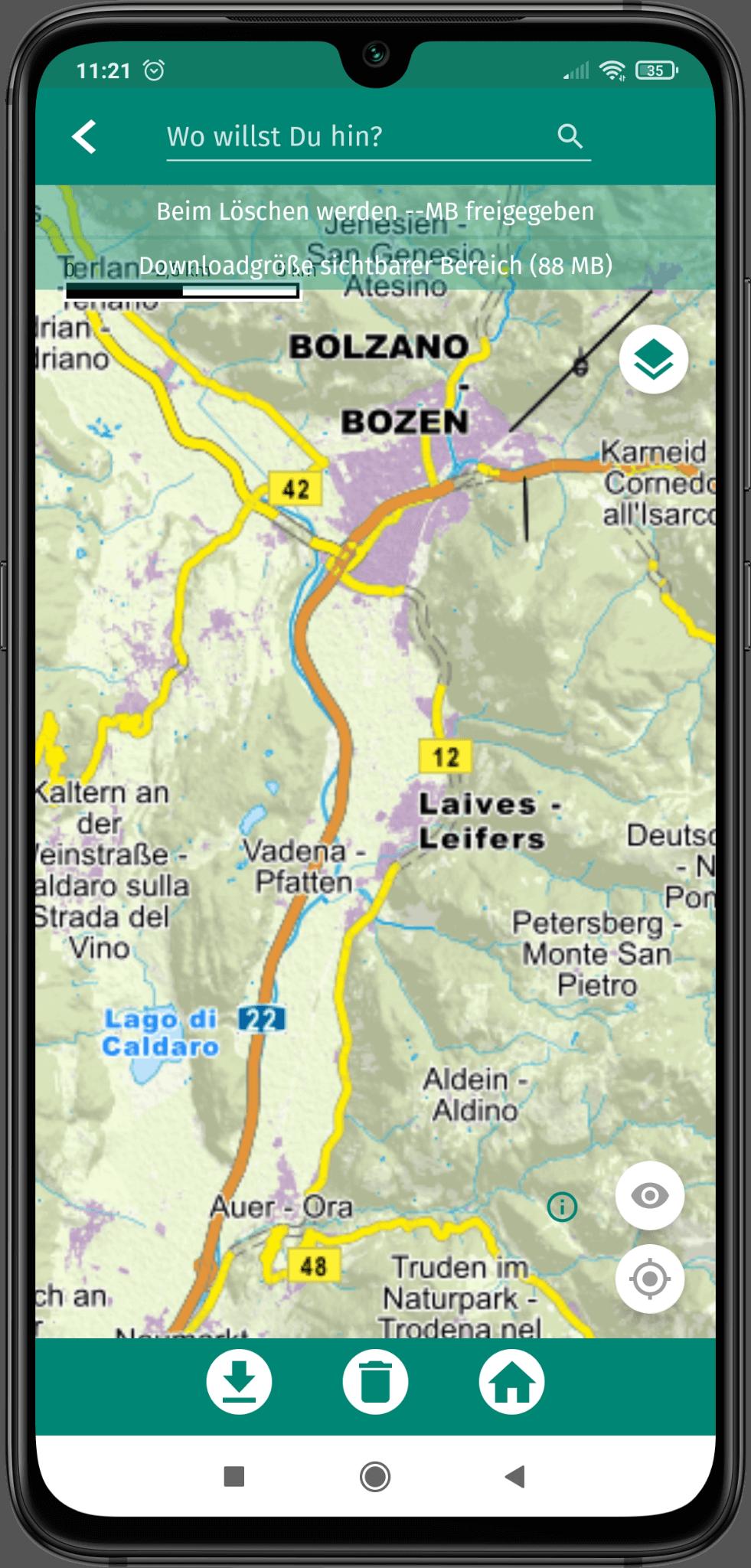 App Screenshot - Ansicht des Kartenbereiches