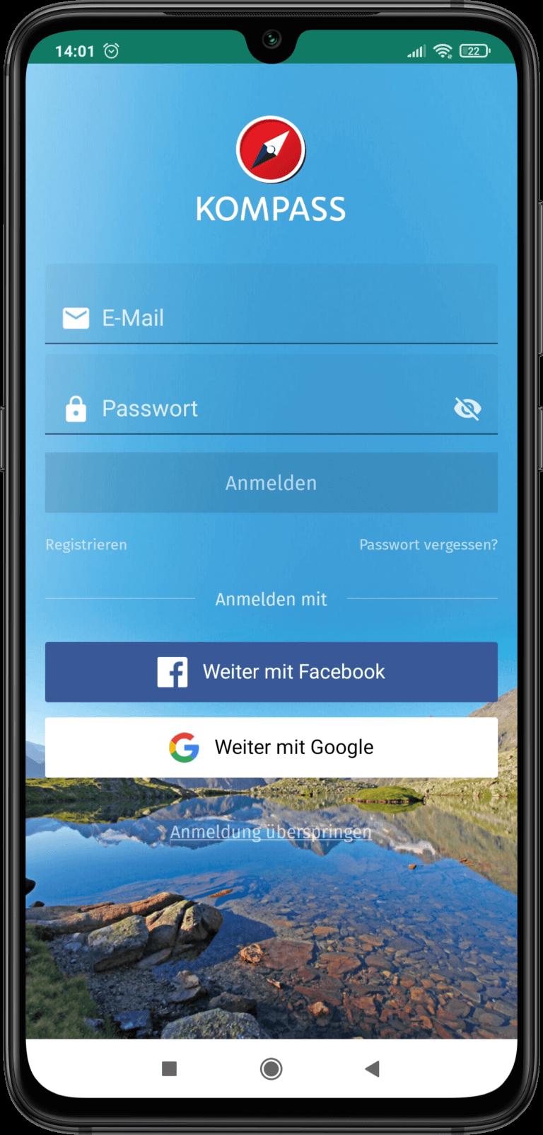 App Screenshot - Login Seite der Kompass App