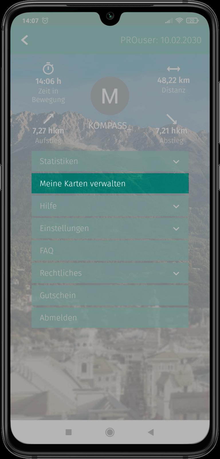 "App Screenshot - Button ""Meine Karten"" hervorgehoben"