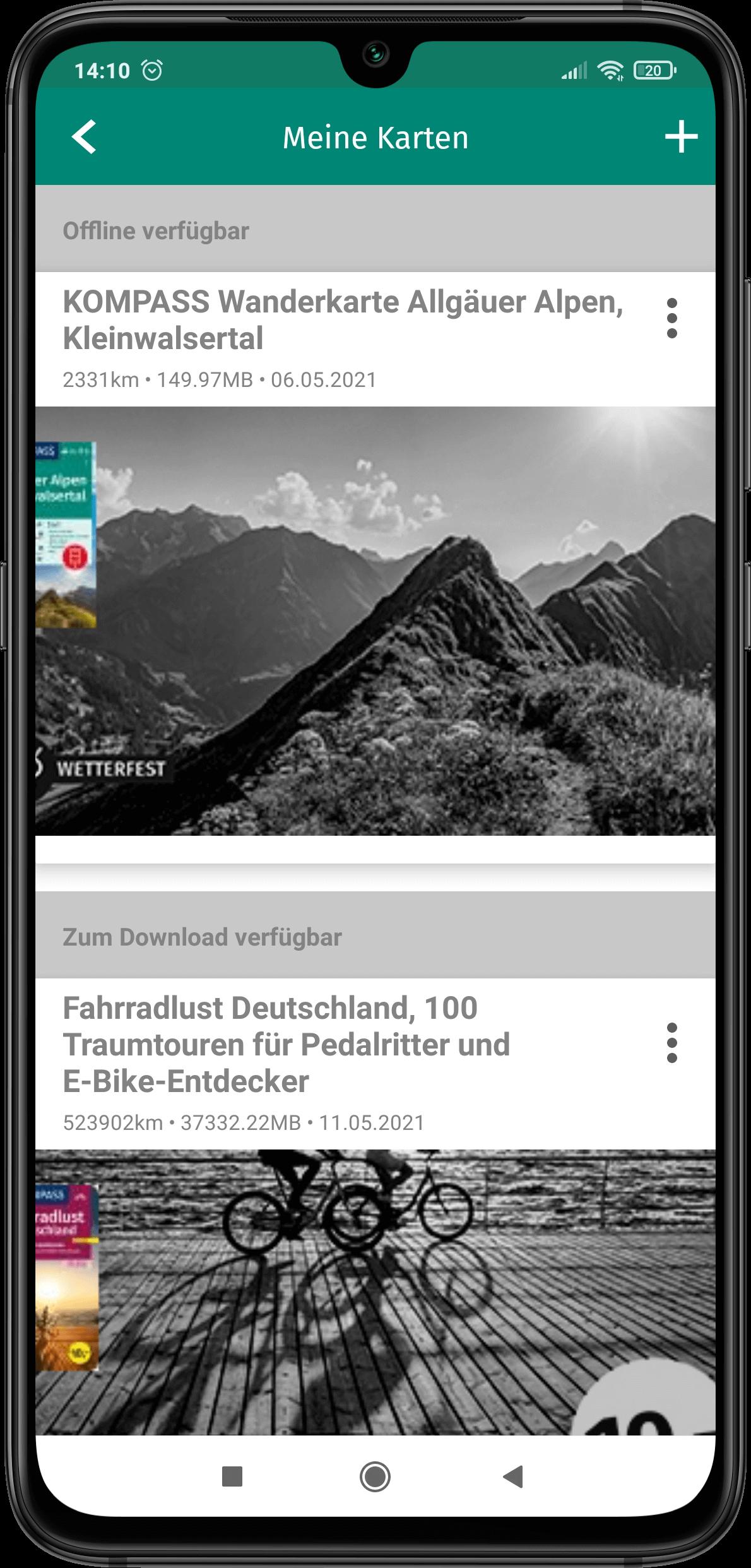 App Screenshot - Meine Karten offline nutzen - Beispiel Abbildung einer Tour