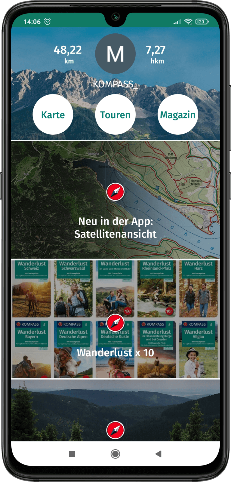 App Screenshot - die Startseite der App