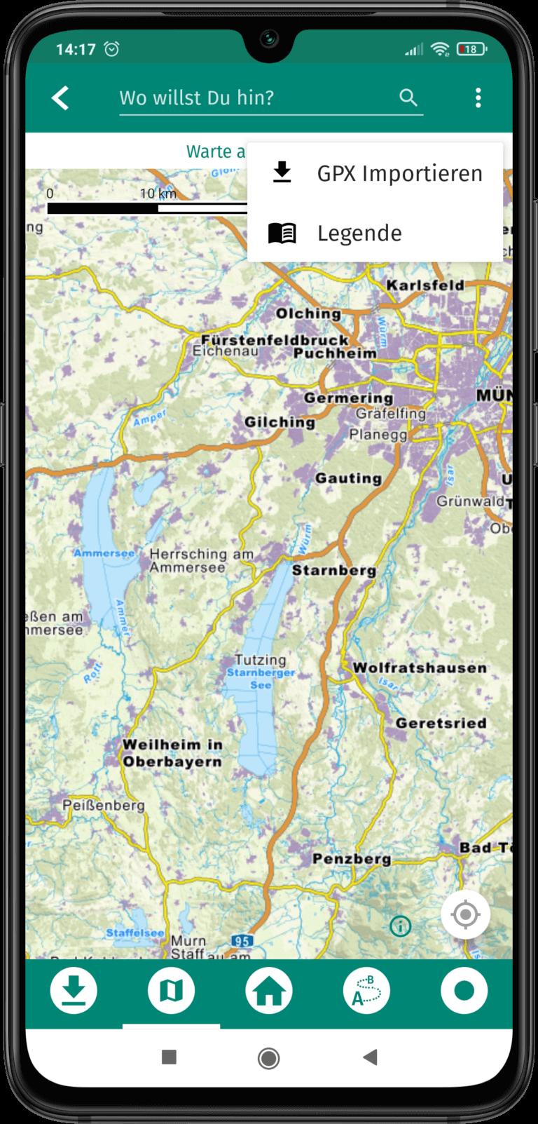App Screenshot - Touren importieren als GPX Daten