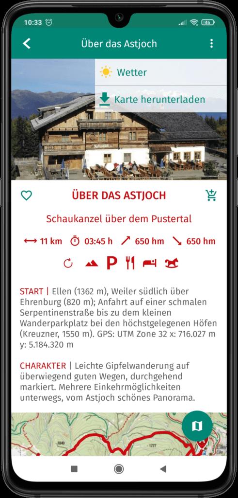 App Screenshot Wanderführer in der App verwenden
