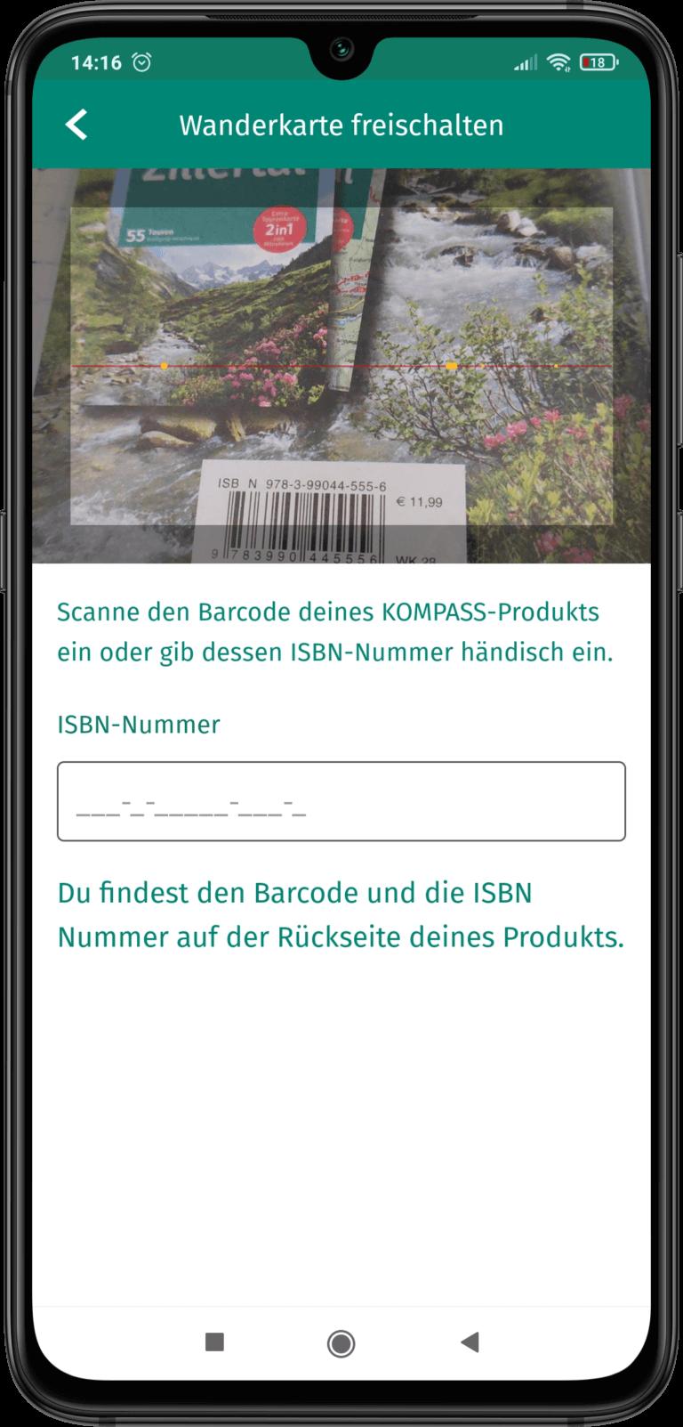 App Screenshot - Wanderkarte freischalten in der App