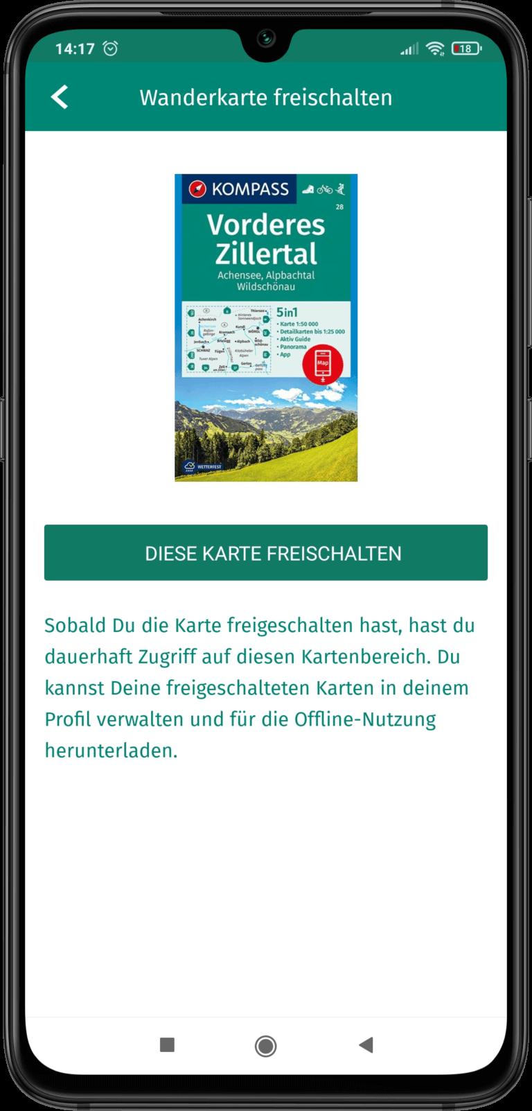 App Screenshot - Wanderkarte freischalten - Das gefundene Produkt wird dargestellt