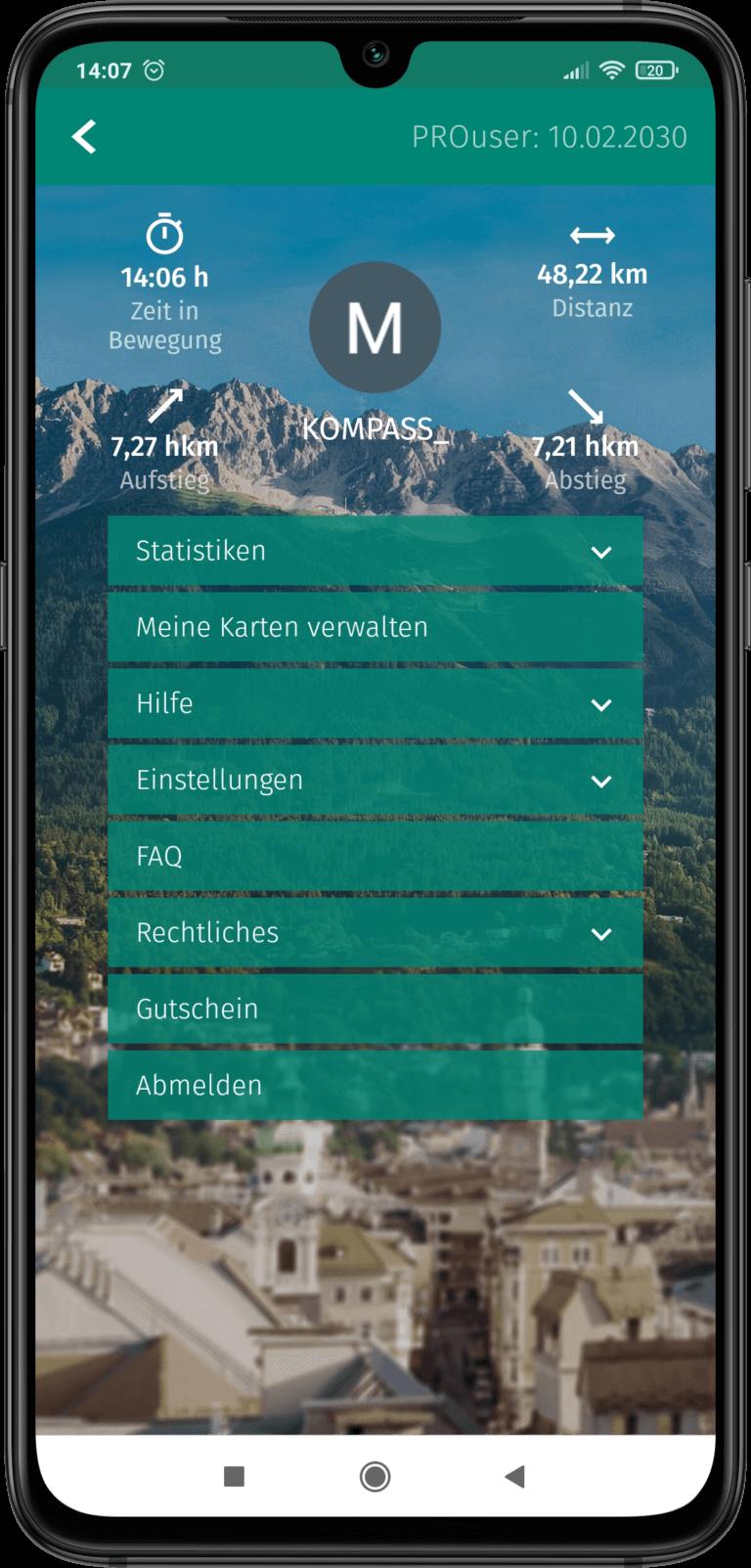 App Screenshot - Ansicht für persönliche Einstellungen