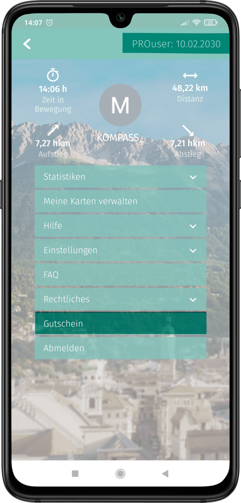 App Screenshot - Gutschein einlösen in der App - Button hervorgehoben