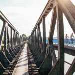 Ruhrtalradweg bei Bochum: Blick auf Brücke beim Eisenbahnmuseum
