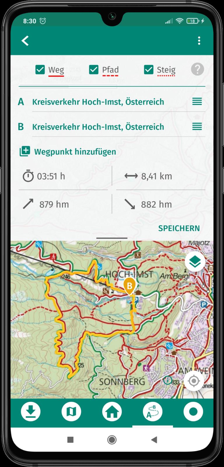 App Bildschirm Screenshot - GPX Daten auf die App Hochladen