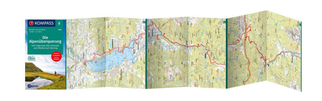 Wander Tourenkarte Alpenüberquerung Transalp vom Tegernsee nach Sterzing