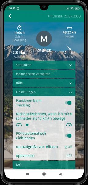 App Screenshot - Einstellungen in der Kompass App verwenden
